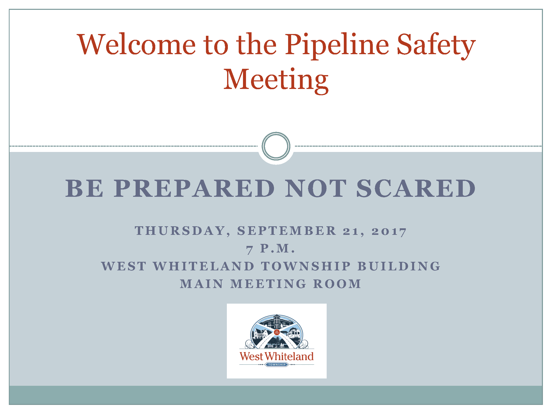 Pipeline Safety Mtg Cover Sheet