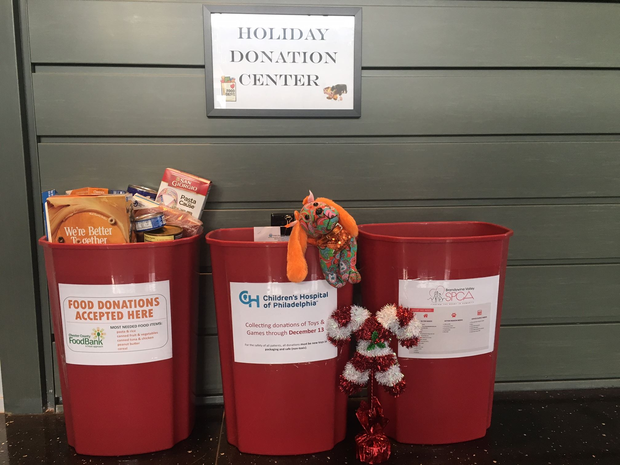 Donation bins and sign